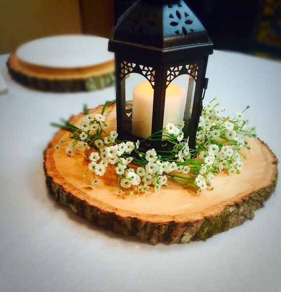 Destination events wood chip centerpiece
