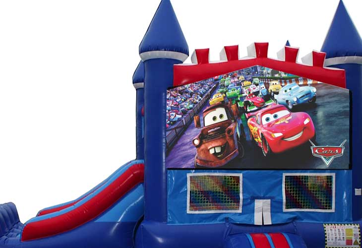 Cars bounce house with slide
