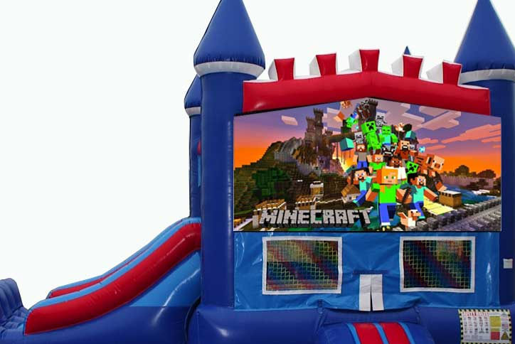 Minecraft bounce house with slide